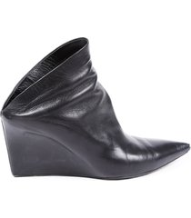 balenciaga leather pointed wedge booties