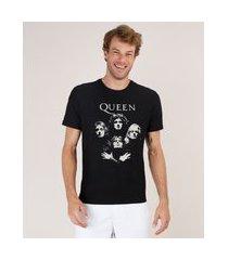 camiseta masculina de banda queen manga curta gola careca preta
