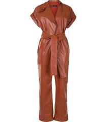 oscar de la renta leather belted short-sleeve jumpsuit - orange