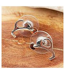sterling silver and copper button earrings, 'playful kitties' (mexico)