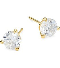 goldplated sterling silver & simulated diamond stud earrings