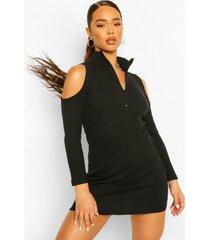 geribbelde mini jurk met hoge ritskraag en uitgesneden schouders, black