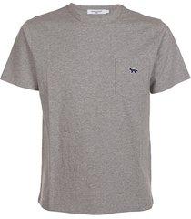 maison kitsuné navy fox patch classic pocket tee-shirt