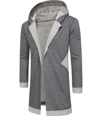 hooded unbuttoned long cardigan