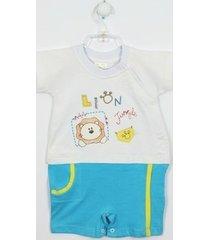 macacão primeirto mundo curto camiseta lion