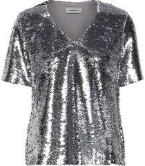 vibe top t-shirts & tops short-sleeved silver modström