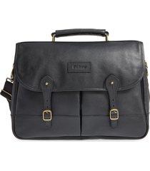 men's barbour leather briefcase - black