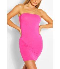 strapless jersey bodycon jurk, hot pink