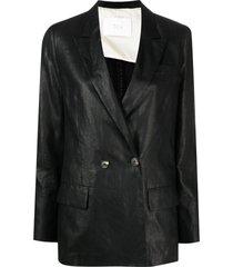 tela double-breasted coated-finish blazer - black