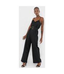 macacão calvin klein pantalona com cinto preto
