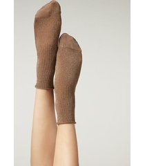 calzedonia ribbed cotton ankle socks woman brown size tu