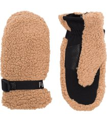 holden adjustable buckle faux-shearling gloves - brown