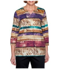 alfred dunner women's textured biadere top