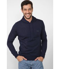 suéter opera rock tricot capuz azul-marinho