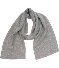 women's carolyn rowan accessories crystal embellished cashmere scarf, size one size - grey