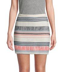 striped fringe cotton blend mini skirt