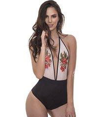 body para mujer - en jaibel licrado y malla tex- negro - lussuria - fresa - ref: 037