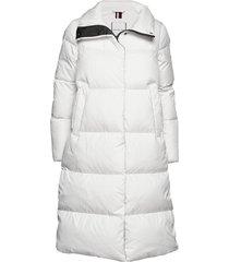 pearl down coat gevoerde lange jas wit tommy hilfiger