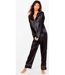 womens straight to sleek satin shirt and pants pajama set - black