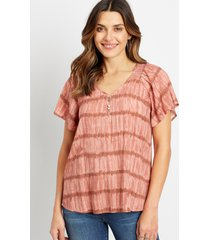 maurices womens mauve tie dye flutter sleeve button front top pink