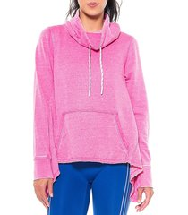 activology women's funnel-neck high-low pullover - super pink - size l
