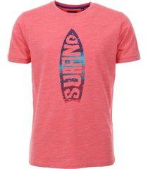 adam est 1916 t-shirt met surfbord print rood