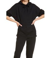 women's open edit pullover hoodie, size large - black