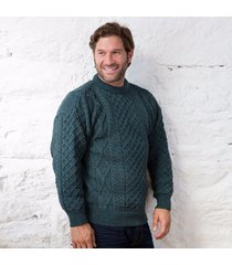 springweight new wool crew neck sweater green large