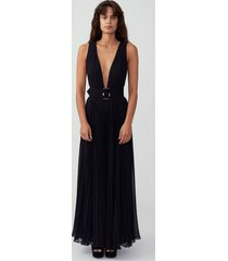 black plunging pleated jumpsuit