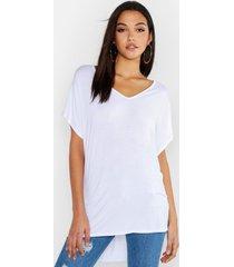 basic t-shirt met v-hals en v-hals, wit
