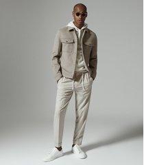 reiss jenner - wool blend blouson jacket in oatmeal, mens, size xxl