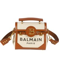 balmain b plaque logo print shoulder bag