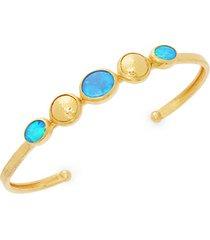 amulet hue 24k yellow gold, 22k yellow gold & opal cuff bracelet