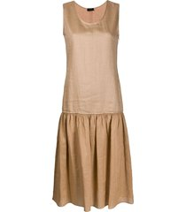joseph nolen voile plissé midi dress - brown
