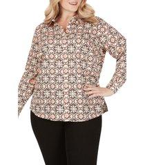 plus size women's foxcroft ava mosiac print wrinkle free shirt
