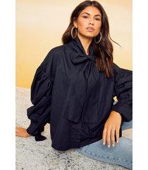 katoenen drop shoulder blouse met strik, zwart