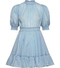 victorian organza smocking dress korte jurk blauw by ti mo