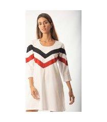 camisola feminina recortes monthal manga 3/4 em malha branca