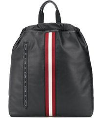 bally stripe detail embroidered logo backpack - black