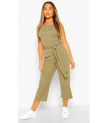 petite high neck belted rib culotte jumpsuit, khaki