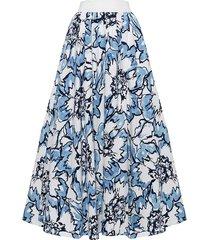 spódnica maxi w kwiaty błękitna