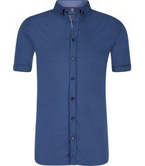 desoto heren overhemd korte mouw indigo button-down slim fit