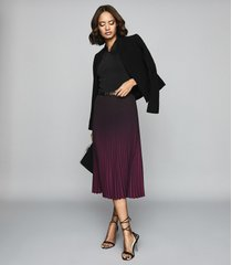 reiss marlie - ombre pleated midi skirt in berry, womens, size 12