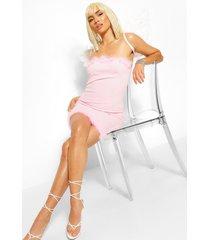 angel mini jurk met pluizige zoom, roze