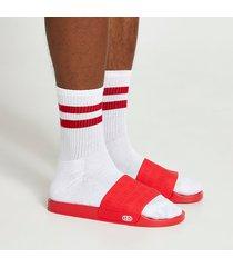 river island mens red embossed sliders and socks set