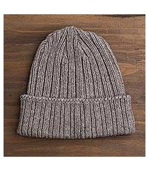 knit merino wool and bison wool hat, 'american bison beanie' (usa)