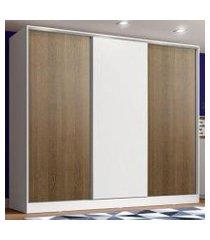 guarda roupa juvenil 100% mdf madesa kevin 3 portas de correr - branco/rustic/branco
