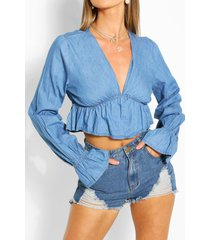 chambray flute sleeve top, mid blue
