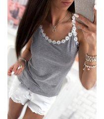 grey scoop neck crochet lace trim cami top