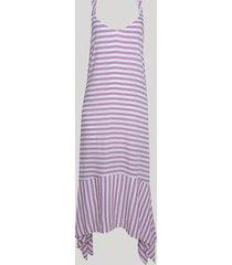 vestido feminino midi assimétrico listrado alça larga branco
